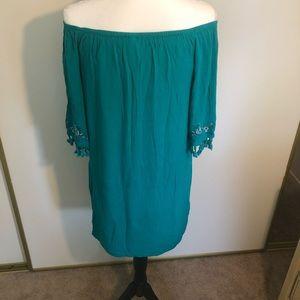 Xhilaration Dresses - Boho turquoise tunic off the shoulder floral